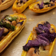 White Beans and Spinach/ Kale Stuffed Delicata Squash