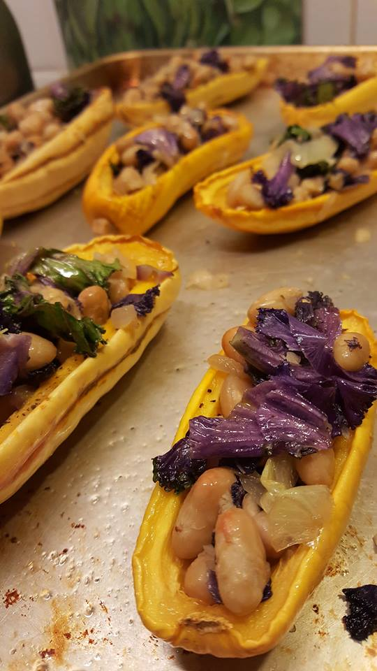White Beans and Spinach Stuffed Delicata Squash