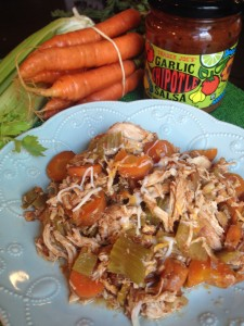 EASY slowcooker Salsa Chicken with Celery, Carrots, etc