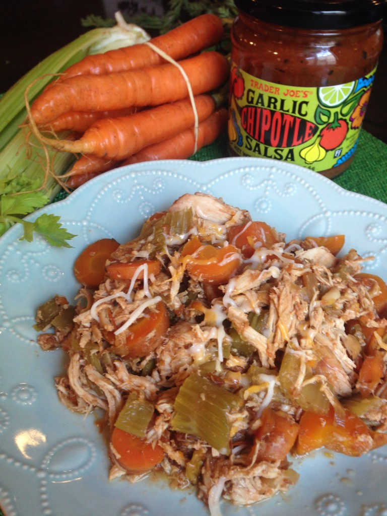 EASY Slowcooker Salsa Chicken with Carrots and Celery